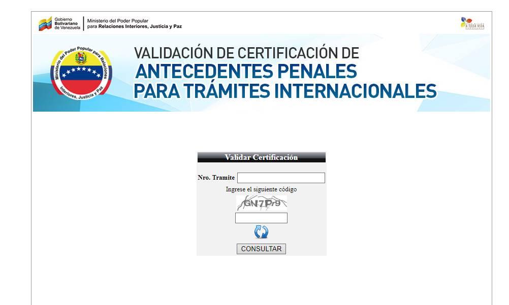 Certificado de antecedentes penales validar certificado