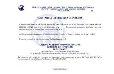 Constancia de pensión electrónica