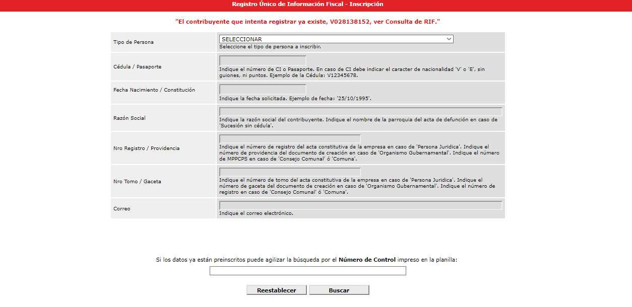 Consulta RIF con SENIAT inscripción de RIF buscar