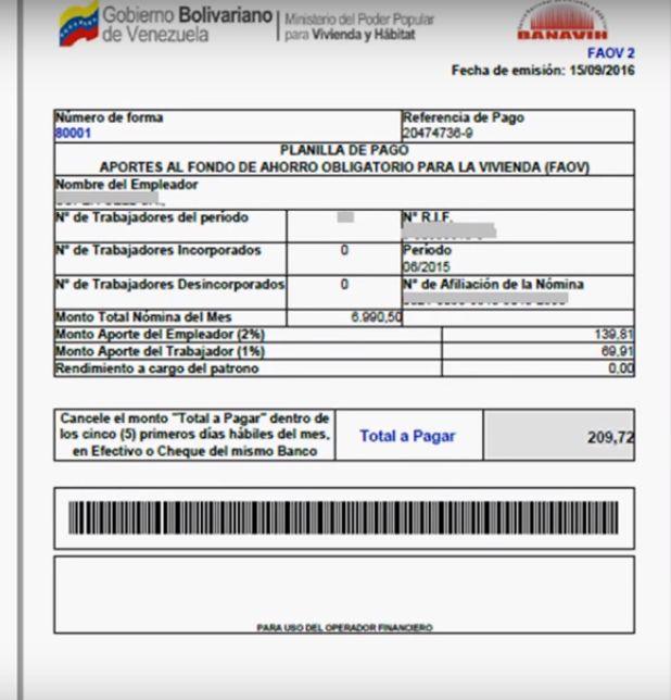 FAOV en línea planilla imprimir