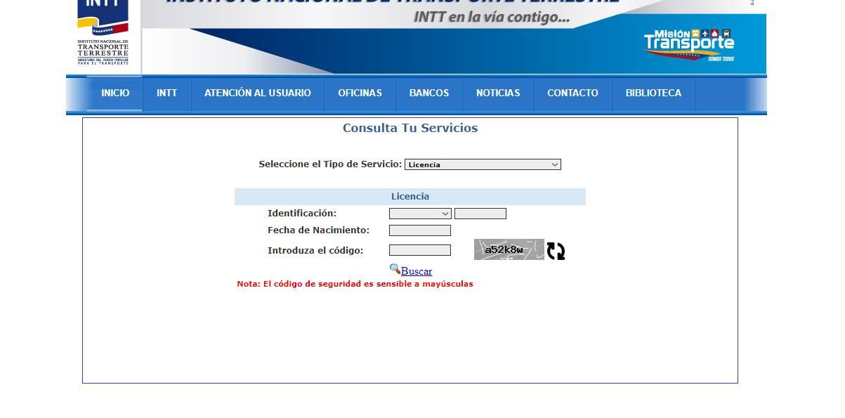 INTT Consulta publica licencia formulario
