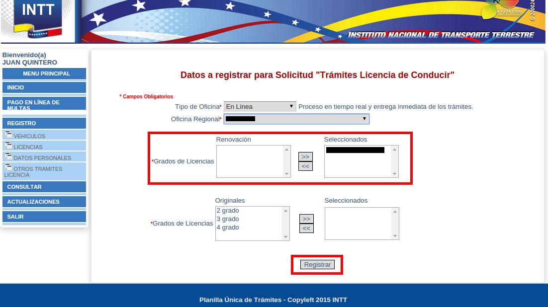 INTT licencia registrar