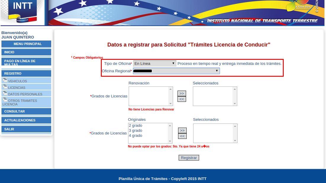 INTT licencia tramite