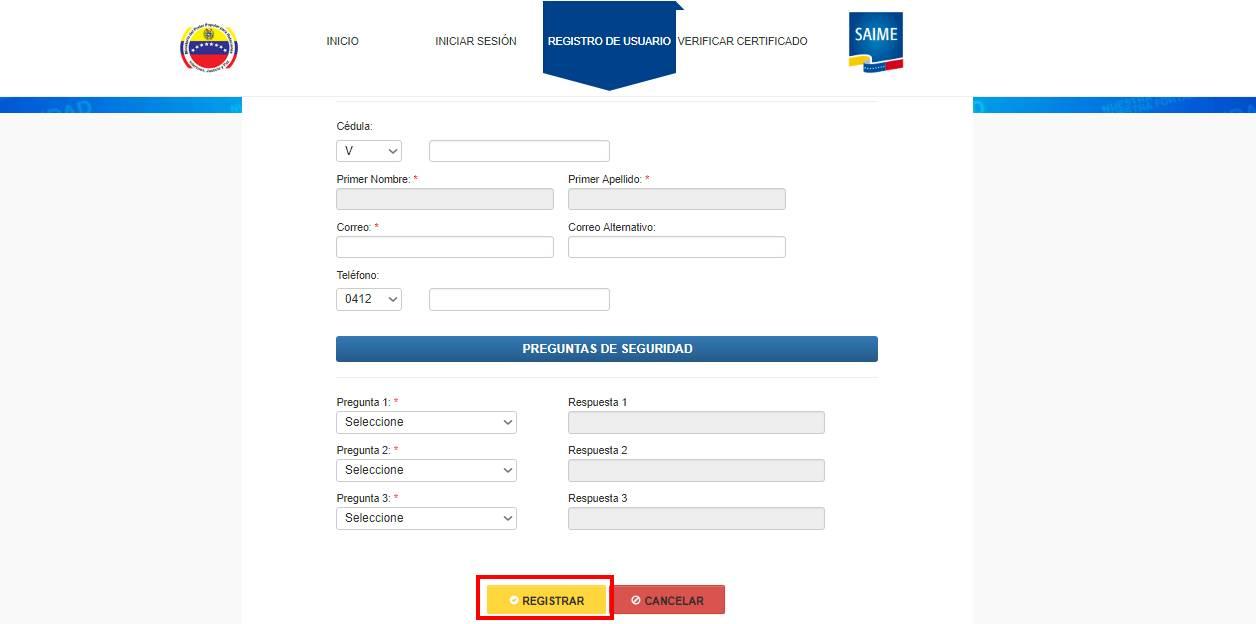 SAIME Pasaporte registrar