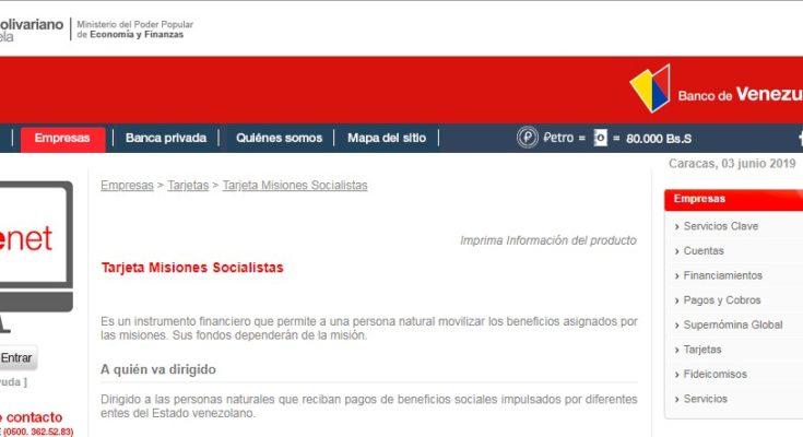 Tarjeta Misiones Socialistas