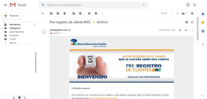 correo pre registro bnc cuenta