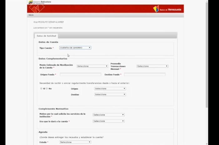 formulario banco de venezuela