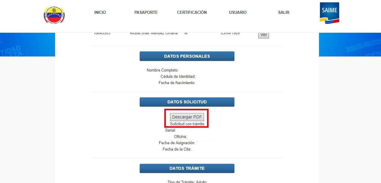 planilla de solicitud de pasaporte descargar