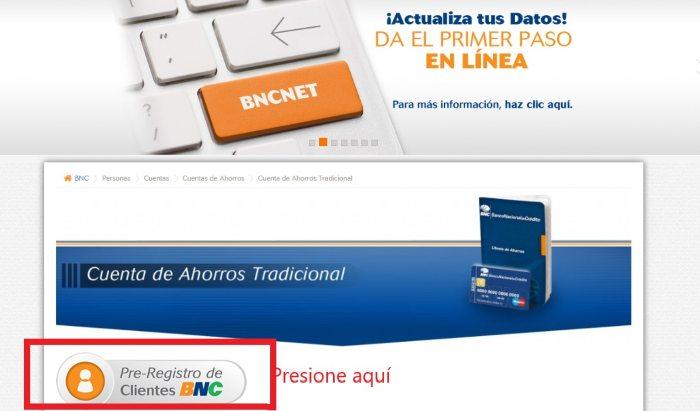 pre registro de clientes bnc