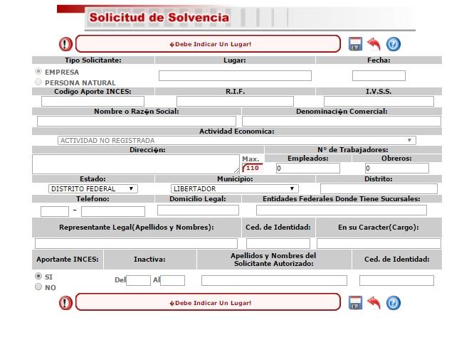 solvencia INCES datos formulario