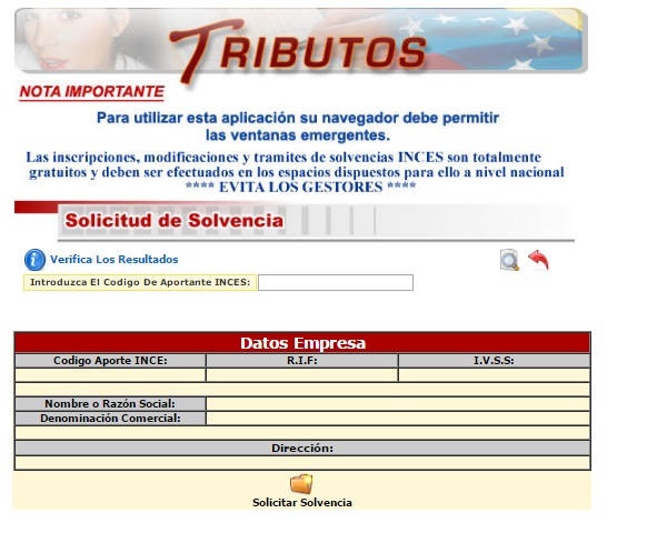 solvencia INCES solicitar