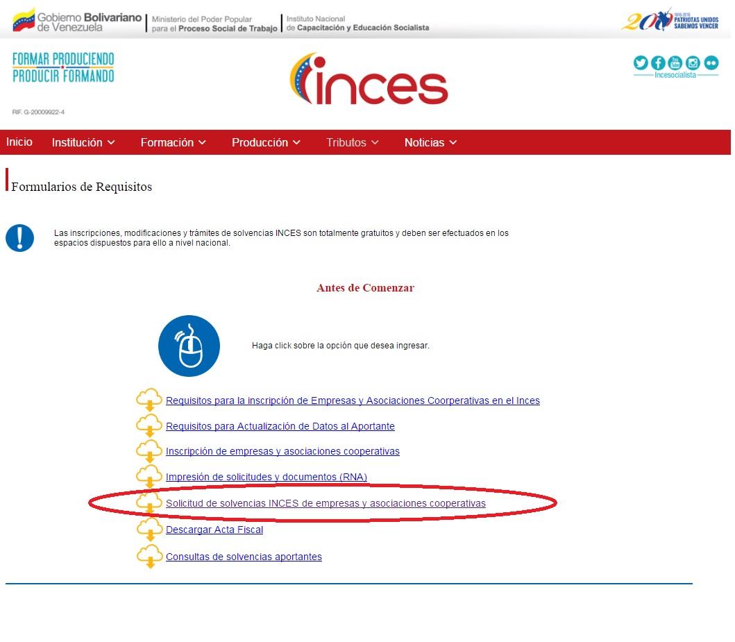 solvencia INCES solicitud